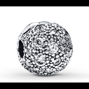 Pandora clip cosmic stars clear CZ stealing silver